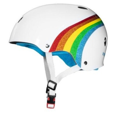 Triple 8 Certified Sweatsaver helmet - Rainbow White