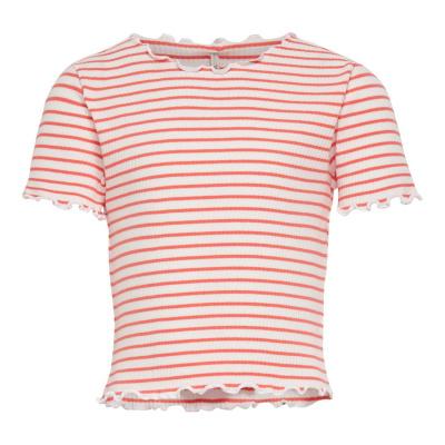 Gila rib t-shirt Kids Only girls living coral/cloud dancer
