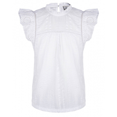 Blouse broderie IBJ girls offwhite