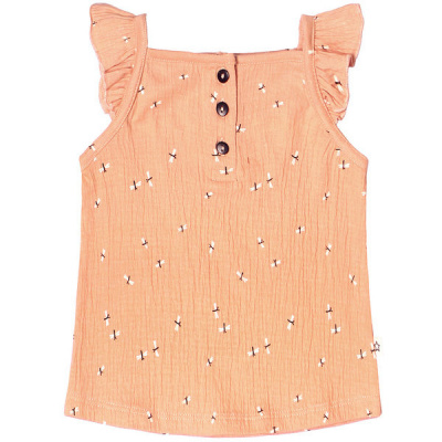 Dragonfly ruffle singlet Your Wishes girls peach