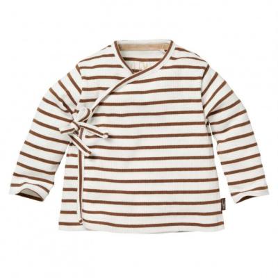 Bauke overslag shirt LEVV brown almond stripe
