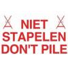 Foto van Waarschuwingsetiket 'niet stapelen' / 'don't pile'