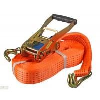 Spanband 50 mm - 2-delig met ratel en haken 9 mtr. oranje