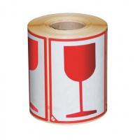 Waarschuwingsetiket glas - wit/rood