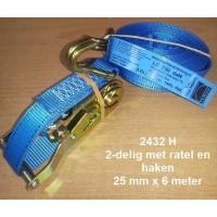 Spanband 25 mm - 2 delig met ratel en haken 6 mtr.