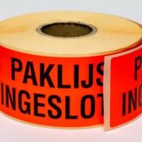 Waarschuwingsetiket 'Paklijst ingesloten' - 5 rol à 500 stuks