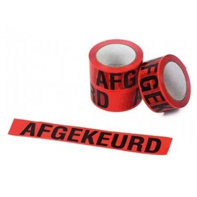 Foto van PVC tape 50mm x 66mtr. rode opdruk 'AFGEKEURD'