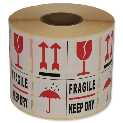 Foto van Waarschuwingsetiketten - 4 symbolen 'fragile keep dry'