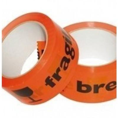Foto van PVC tape oranje/fluor-zwart 50 mm x 66 mtr. breekbaar-fragile