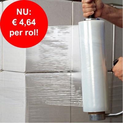 Foto van Goedkope handrekwikkelfolie 50 cm x 20 my x 300 mtr. transparant: goedkoper dan ooit!