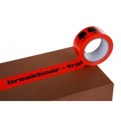 Afbeelding van PVC tape oranje/fluor-zwart 50mm x 66mtr. breekbaar-fragile