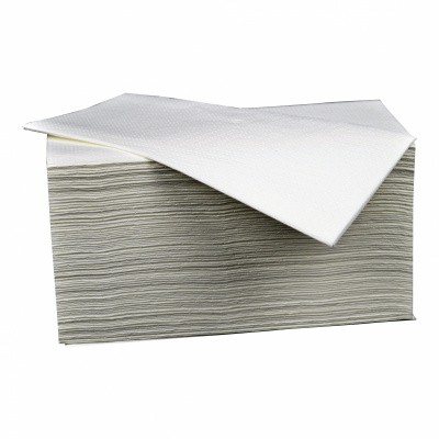 Foto van Gevouwen handdoekjes Z-vorm papier - 21 x 25 cm wit