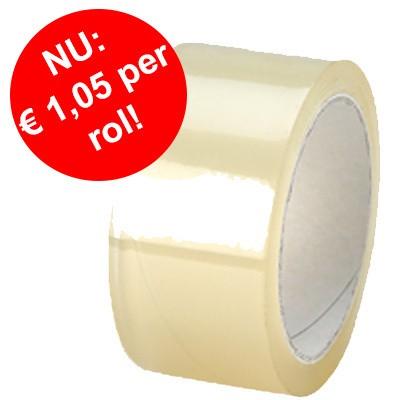 Foto van Goedkope PVC tape transparant 48 mm x 66 mtr: goedkoper dan ooit!