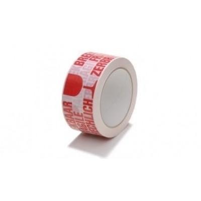 PVC tape wit-rood 50mm x 60mtr. breekbaar