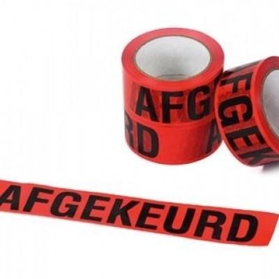 Foto van PVC tape wit 50mm x 66mtr. rode opdruk 'afgekeurd'