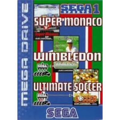 Foto van Sega Sports 1 Super Monaco/ Wimbledon/Ultimate Soccer SEGA MEGADRIVE