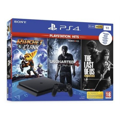 Foto van Playstation 4 Console 1TB (Slim) + Ratchet & Clank/Uncharted 4/The Last Of Us Remastered PS4 CONSOLE