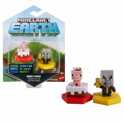 Foto van Minecraft Earth - Mini Boosts Assorted Pack 2 Figures (Pig/Pillager) MERCHANDISE