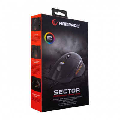 Foto van Rampage Sector SMX-R90 Gaming Mouse (Black) PC
