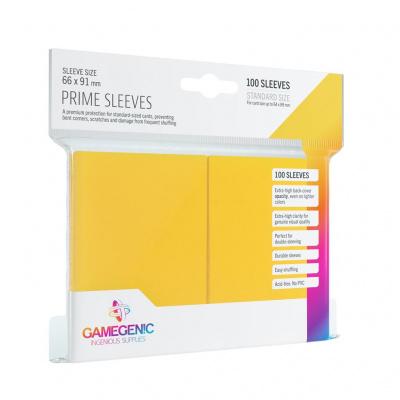 Foto van TCG Prime Sleeves 66 x 91 mm - Yellow (Standard Size/100 Stuks) SLEEVES
