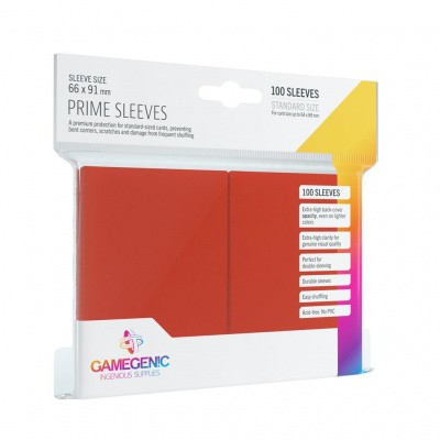 TCG Prime Sleeves 66 x 91 mm - Red (Standard Size/100 Stuks) SLEEVES