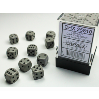 Dice Set Opa Dark Grey/Black 12mm (36Pcs) DICES