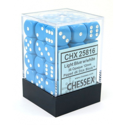 Dice Set Opa Light Blue/White 12mm (36Pcs) DICES