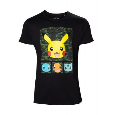 Foto van Pokémon - Men's Black Camo T-shirt - M