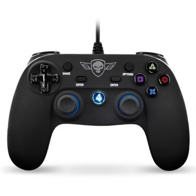 Foto van Spirit Of Gamer Wired Controller Zwart LED PS4
