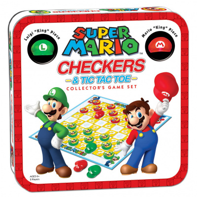 Super Mario Checkers & Tic Tac Toe Collector's Game Set BORDSPELLEN