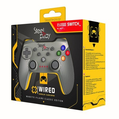 Foto van Steelplay - Wired Controller Classic Edition - Grey SWITCH (Switch/PS3/Pc)