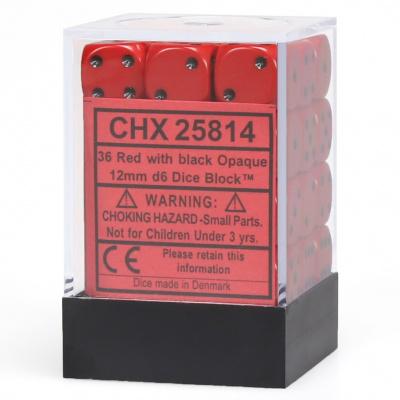 Dice Set Opa Red/Black 12mm (36Pcs) DICES