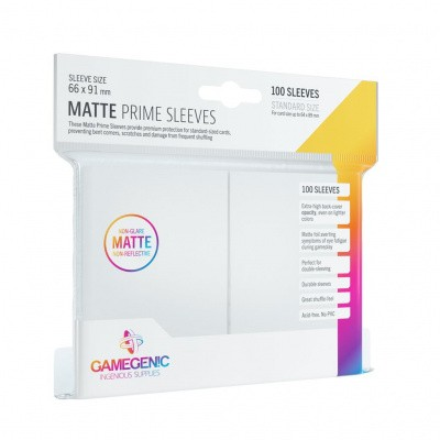TCG Matte Prime Sleeves 66 x 91 mm - White (Standard Size/100 Stuks) SLEEVES
