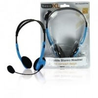 Foto van Draagbare stereo headset blauw