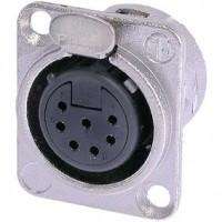 Foto van XLR Panel-mount female receptacle 7 N/A DL soldeer connectie Vernikkeld