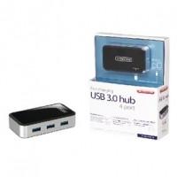 Foto van 4 Poorten Hub USB 3.0 Gevoed Zwart