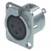 Foto van XLR Panel-mount female receptacle 3 N/A DL soldeer connectie Vernikkeld
