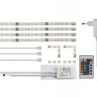 Foto van SET MET FLEXIBELE LEDSTRIPS, RGB-CONTROLLER EN VOEDING - RGB - 4 x 30 cm - 12 VDC