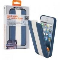 Foto van iPhone 5 lederen hoes blauw / wit