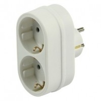 Foto van Schuko adapter 1 plug 2 socket