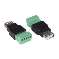 Foto van 2 x USB A VROUWELIJK NAAR 5-POLIGE SCHROEFAANSLUITING
