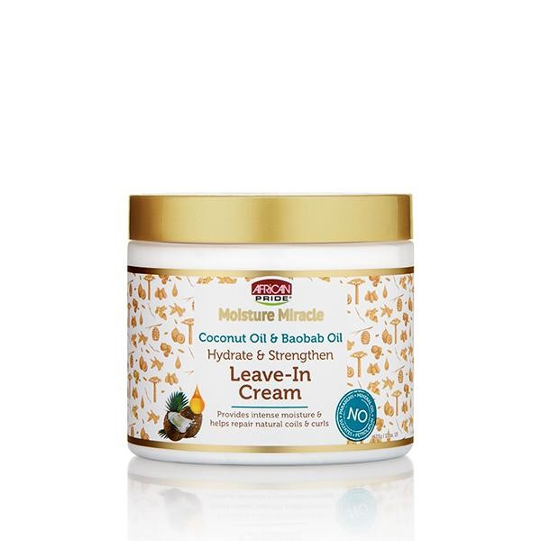 AFRICAN PRIDE MOISTURE MIRACLE Coconut Oil & Baobab Oil Leave – In Cream