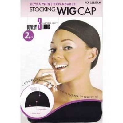 Foto van STOCKING WIG CAP BLACK 2pc