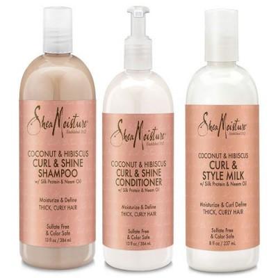 Foto van SHEA MOISTURE COCONUT & HIBISCUS Shampoo + Conditioner + Milk
