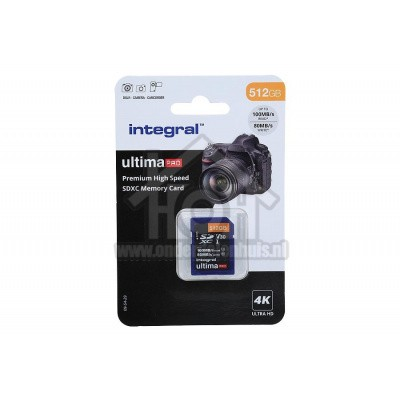Foto van Integral Memory card UltimaPro X2, Class 10 V30 SDXC card 512GB 100MB/s