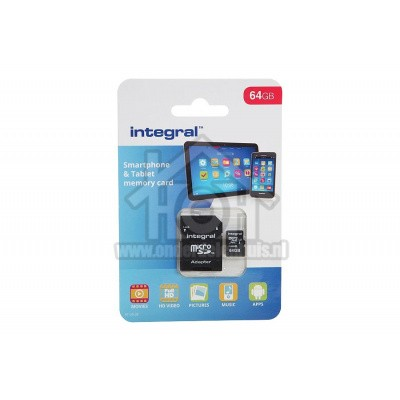 Foto van Integral Memory card Smartphone & Tablet, Class 10 (incl.SD adapter) Micro SDXC card 64GB