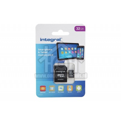 Foto van Integral Memory card Smartphone & Tablet, Class 10 (incl.SD adapter) Micro SDHC card 32GB