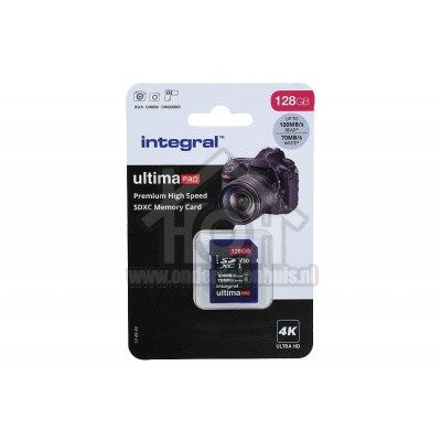 Foto van Integral Memory card UltimaPro X2, Class 10 V30 SDXC card 128GB 100MB/s