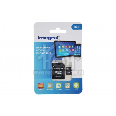Foto van Integral Memory card Smartphone & Tablet, Class 10 (incl.SD adapter) Micro SDHC card 16GB