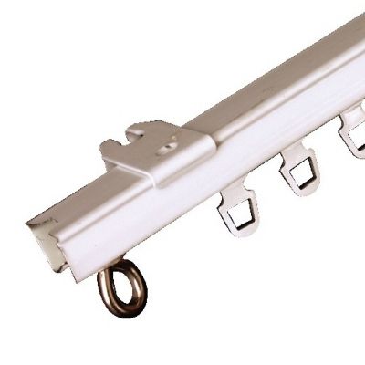 Foto van Gordijnrail U-rail de luxe compleet ijzer wit gelakt 150cm